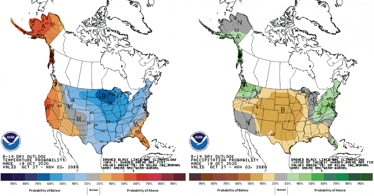 Figure 3: Climate Prediction Center 8-14 Day Outlook valid for October 27 – November 2, 2020 for left) temperatures and right) precipitation. Colors represent the probability of below, normal, or above normal conditions.