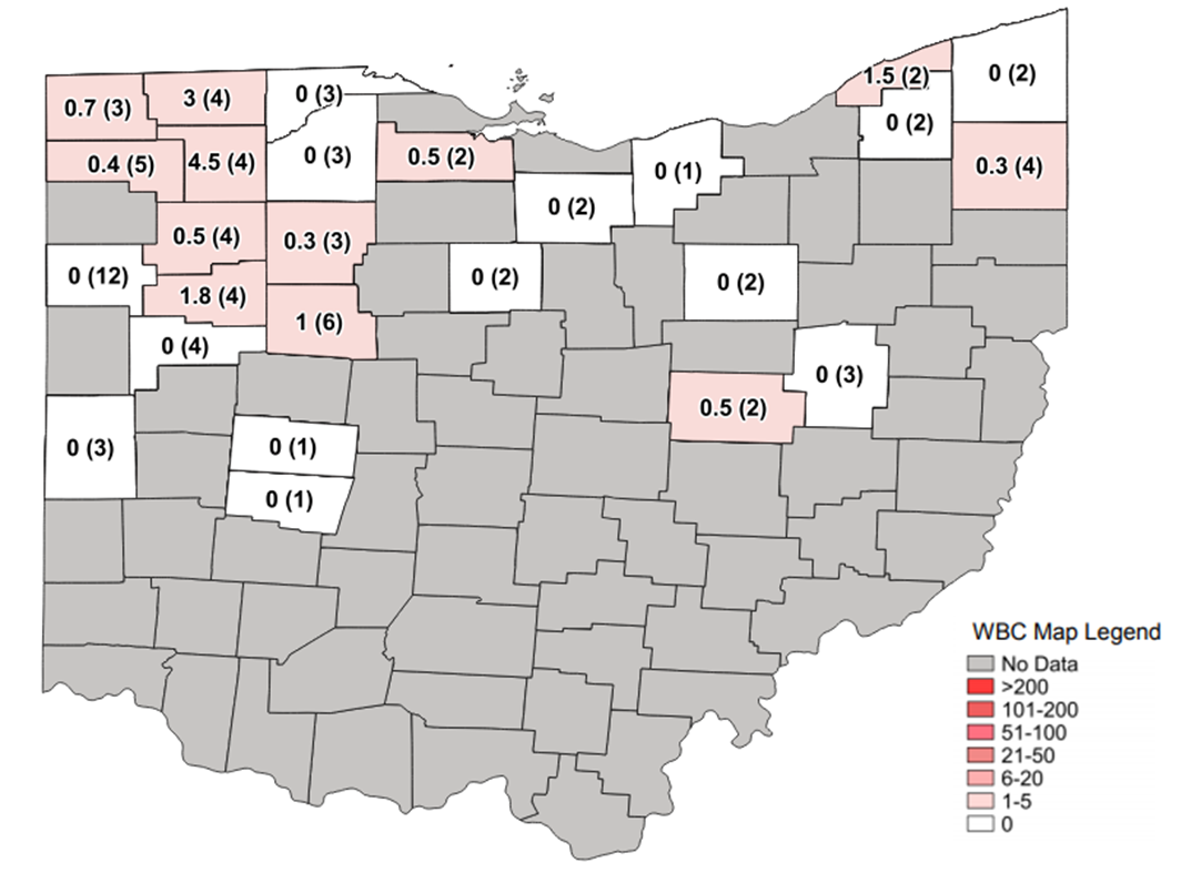 Figure 1. Average Western bean cutworm adult per trap followed by total number of traps in the county in parentheses for week ending July 5, 2020.