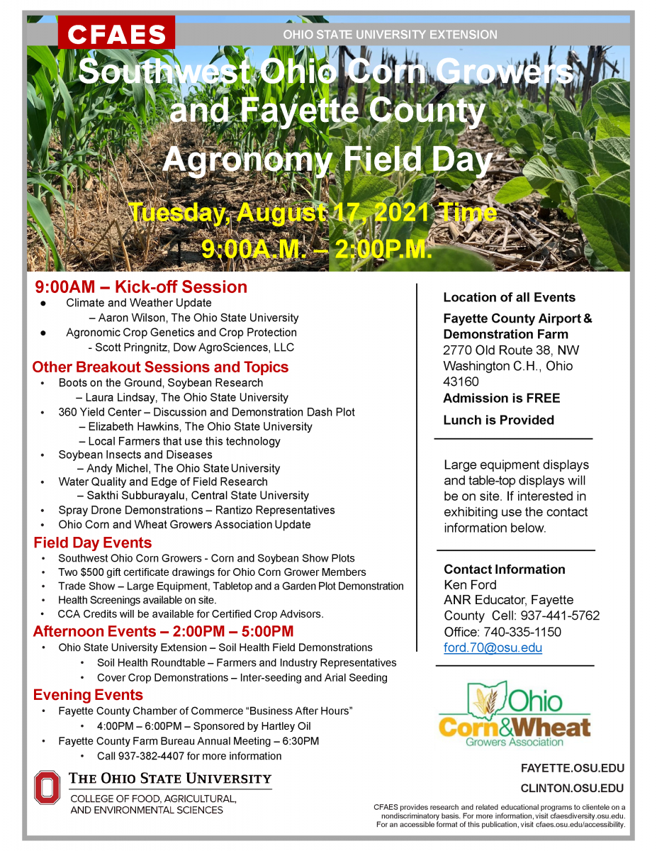 Southwest Ohio Corn Growers and Fayette County Agronomy Field Day Flyer