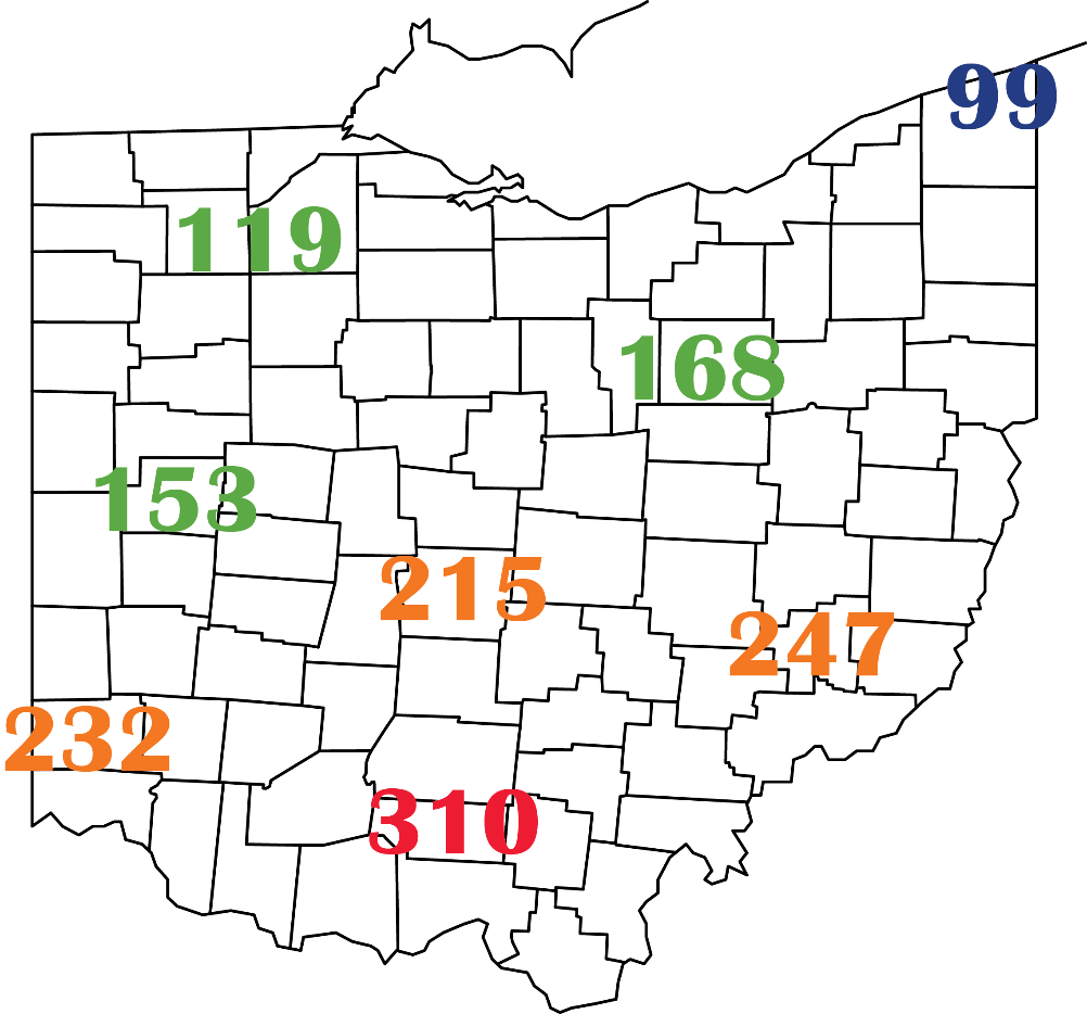 Accumulated growing degree days (base 48°F sine calculation method) for January 1-April 11, 2020 at several CFAES Ag Weather System (https://www.oardc.ohio-state.edu/weather1/) locations and additional NOAA stations around Ohio.