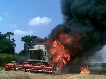 Combine fire. Photo Credit: Flickr
