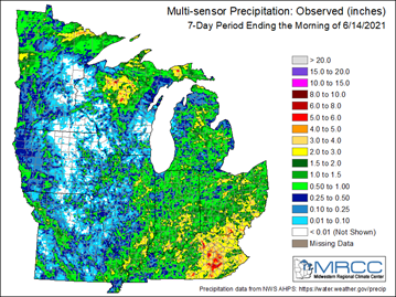 Figure 1: Multi-sensor observed precipitation for the last seven days ending on June 14, 2021. Figure from the Midwestern Regional Climate Center (https://mrcc.illinois.edu).