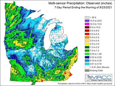 Figure 1). Multi-sensor precipitation estimates for the last 7-days ending 8 a.m. August 23, 2021. Courtesy of the Midwest Regional Climate Center.