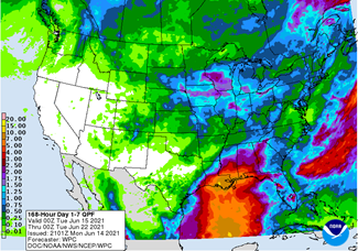 Figure 2: Forecast precipitation for the next 7 days. Valid from 8 pm Monday June 14, 2021, through 8 pm Monday June 21, 2021. Figure from the Weather Prediction Center https://www.wpc.ncep.noaa.gov/).
