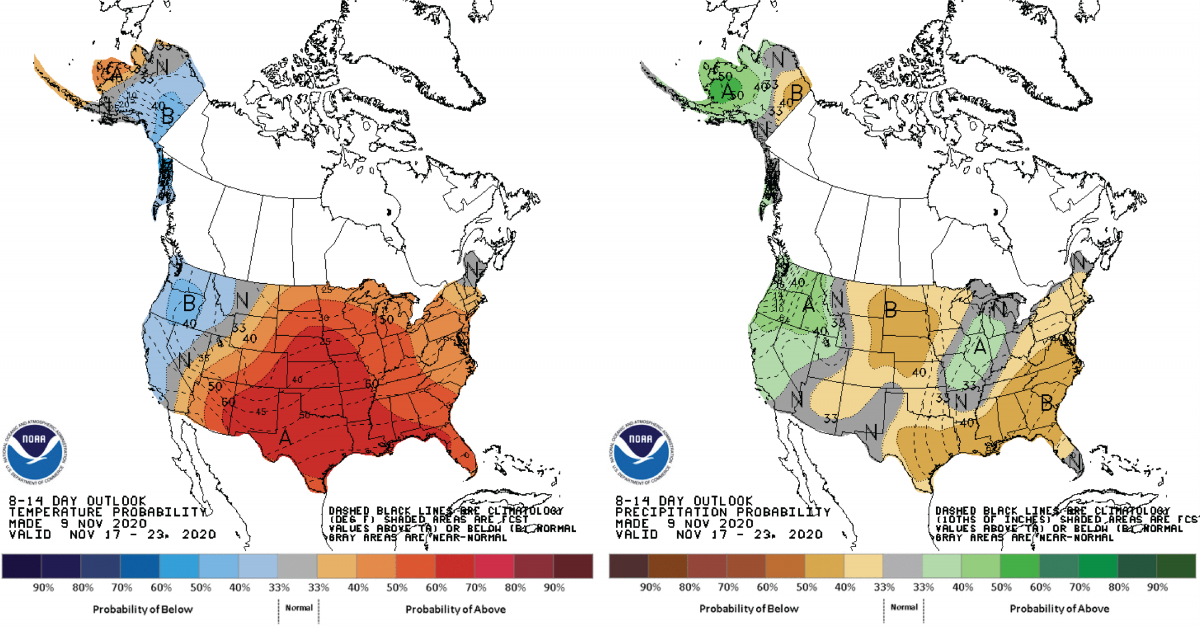 Figure 3: Climate Prediction Center 8-14 Day Outlook valid for November 17 – 23, 2020 for left) temperatures and right) precipitation. Colors represent the probability of below, normal, or above normal conditions.