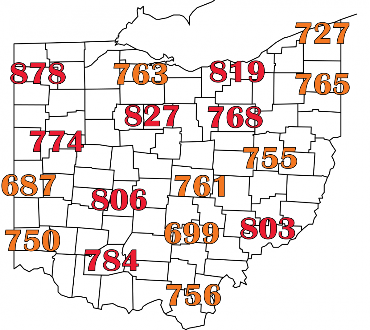 Accumulated growing degree days (base 52°F) through June 20, 2021. Orange numbers indicate areas where 50% percent of corn rootworm larvae will likely have hatched with red numbers indicating conditions that are past this GDD range. Data courtesy of the Midwestern Regional Climate Center (https://mrcc.illinois.edu).
