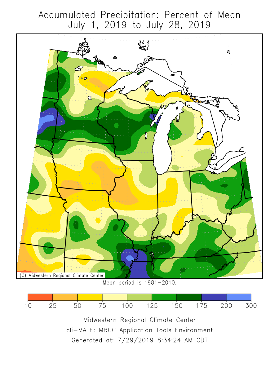 Accumulated Precipitation: Percent of Mean June 1, 2019 - July 28, 2019
