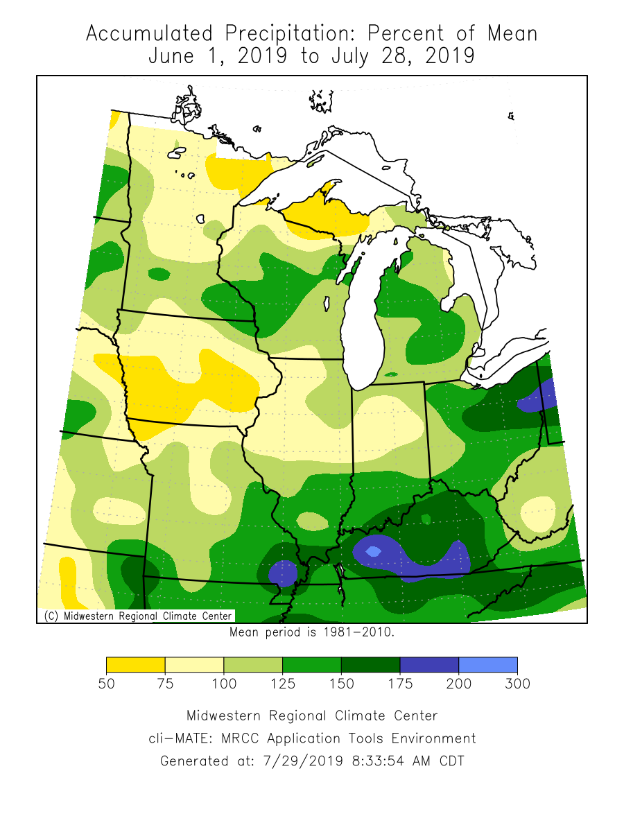 Accumulate Precipitation: Percent of Mean June 1, 2019 - July 28, 2019