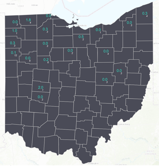 Figure 1. Average Western bean cutworm adult per trap (in blue) followed by the total number of traps monitored in each county (in white) for the week ending June 27th, 2021. Map developed by Suranga Basnagala, Ohio State University, using ArcGIS Pro.