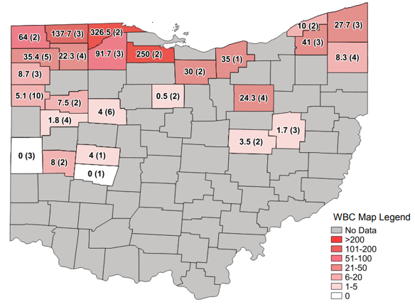 Figure 1. Average Western bean cutworm adult per trap followed by total number of traps in the county in parentheses for week ending July 28, 2019.