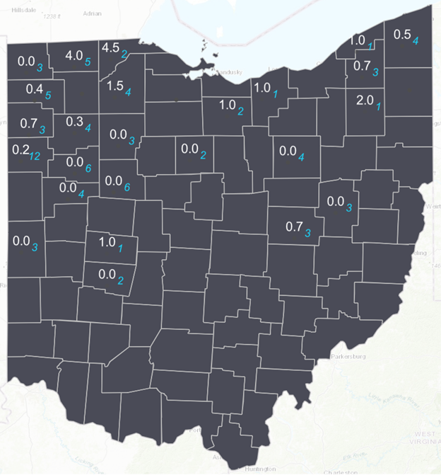 map of Ohio with western bean cutworm trapped moths per county