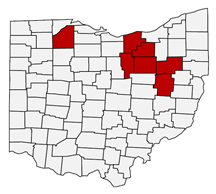 Figure 1: A map of Ohio with counties highlighted where Fall 2020 pipeline sampling occurred.