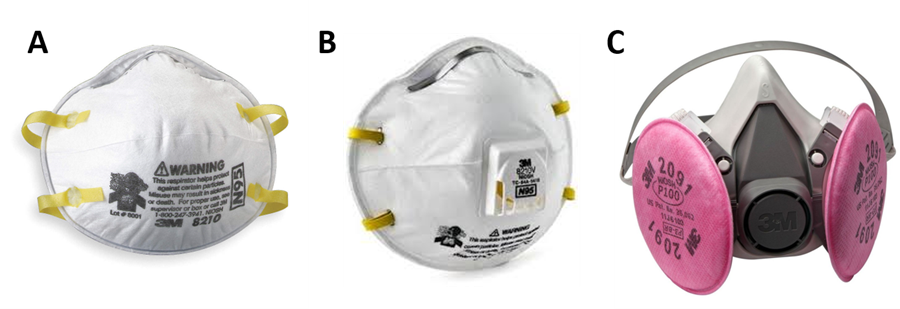 Respirator products: A) disposable N95, B) disposable N95 with exhalation valve; C) reusable quarter mask with P100 air cartridge.