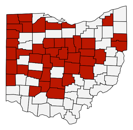 Red counties reflect the Ohio counties where fertilizer trials were conducted (2014 – 2018).