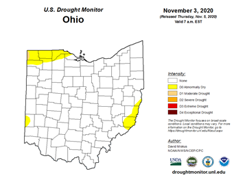 Figure 1: U.S. Drought Monitor for Ohio as reported on Thursday November 3, 2020.