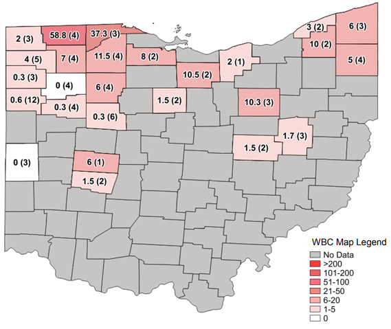 Figure 1. Average Western bean cutworm adult per trap followed by total number of traps in the county in parentheses for week ending July 26, 2020.
