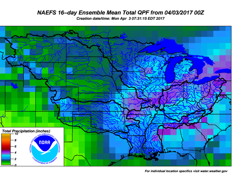 North American Ensemble Forecast System 16 Day Mean Rainfall Forecast from the NWS Ohio River Forecast Center
