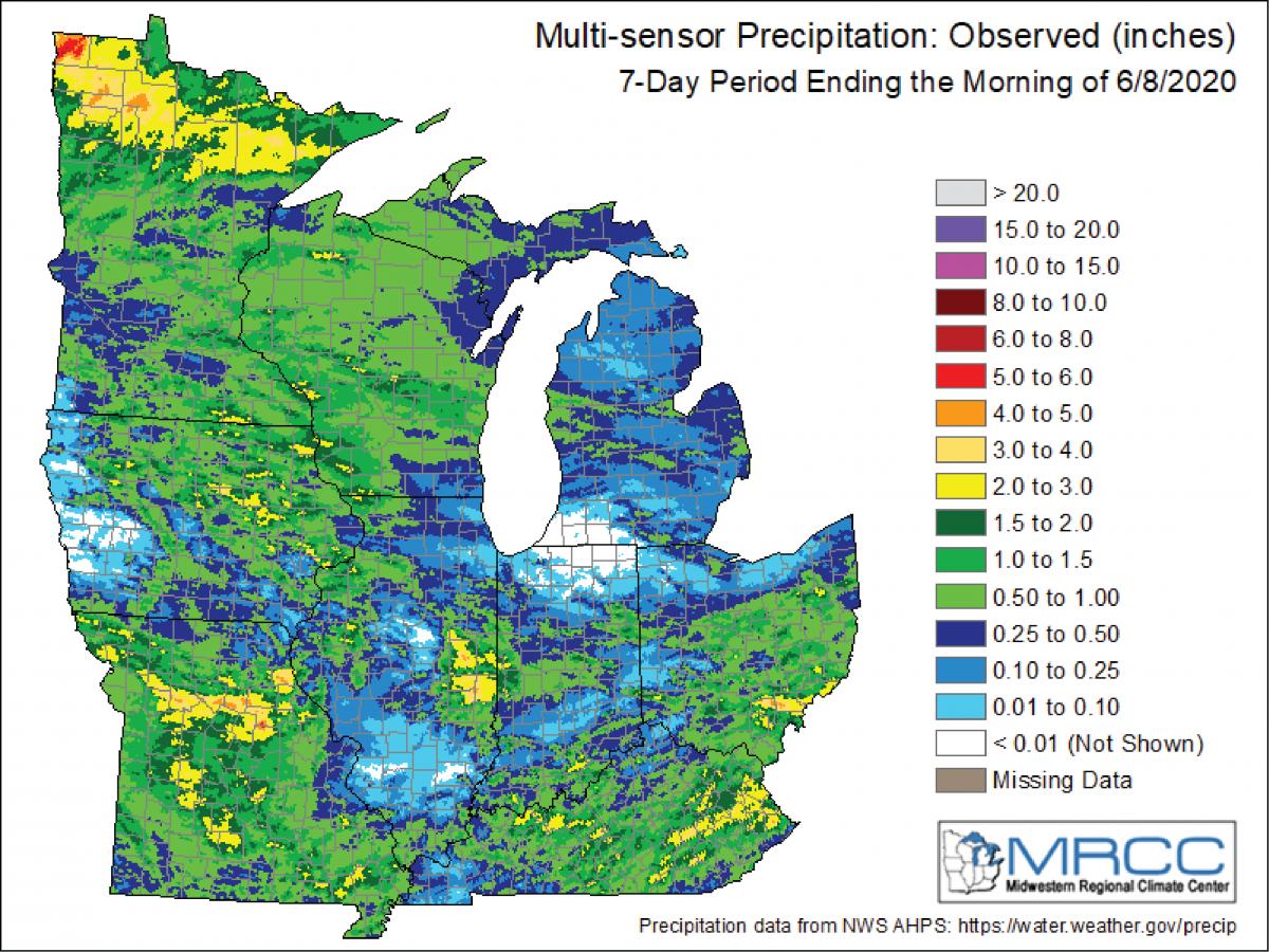 Figure 1: Multi-sensor observed 7-day precipitation ending on June 8, 2020. Figure from the Midwestern Regional Climate Center (https://mrcc.illinois.edu).