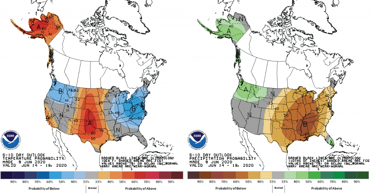 Figure 3: Climate Prediction Center 6-10 Day Outlook valid for June 14-18, 2020 for left) temperatures and right) precipitation. Colors represent the probability of below, normal, or above normal conditions.