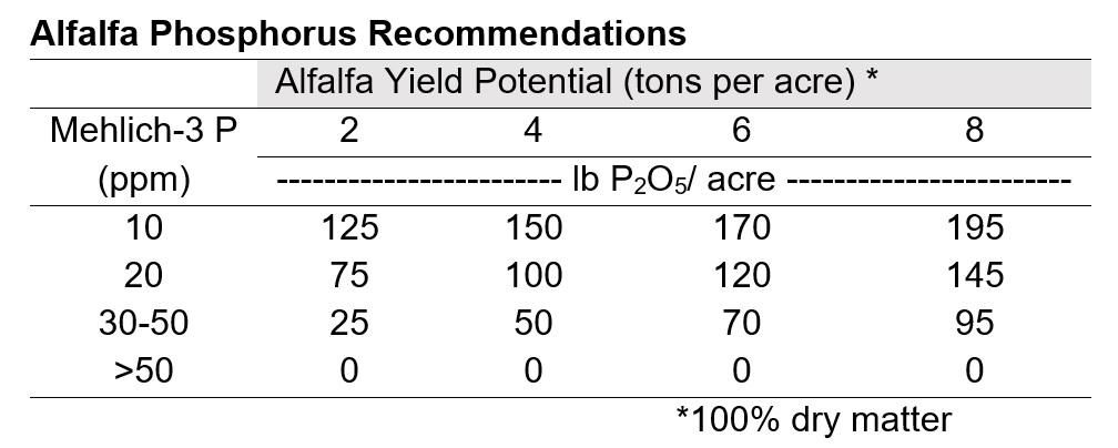 Alfalfa Phosphorus Recommendations