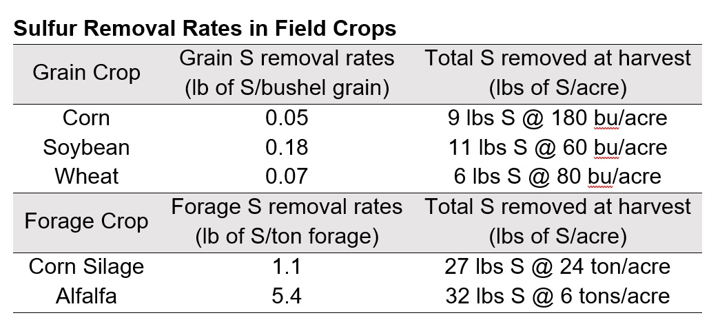 Sulfur Removal Rates in Field Crops