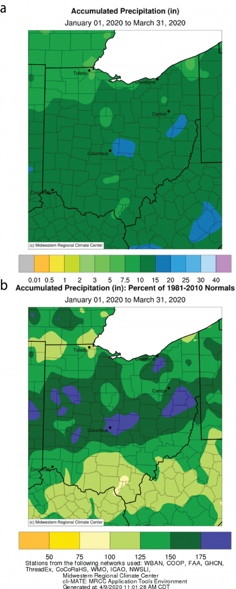 Figure 1: a) Accumulated precipitation in a) inches and b) percent of normal (1981-2010) for January 01 - March 31, 2020. Figures generated at the Midwest Regional Climate Center (https://mrcc.illinois.edu/).