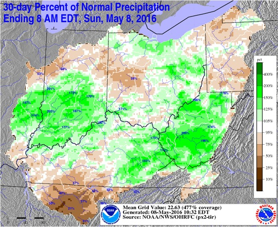 30-day Percent of Normal Precipitation