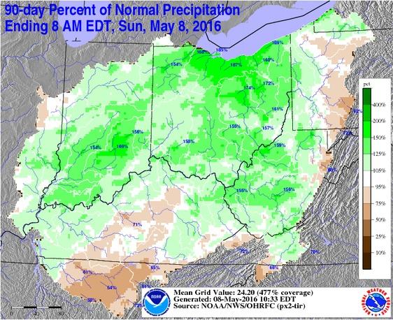 90-day Percent of Normal Precipitation