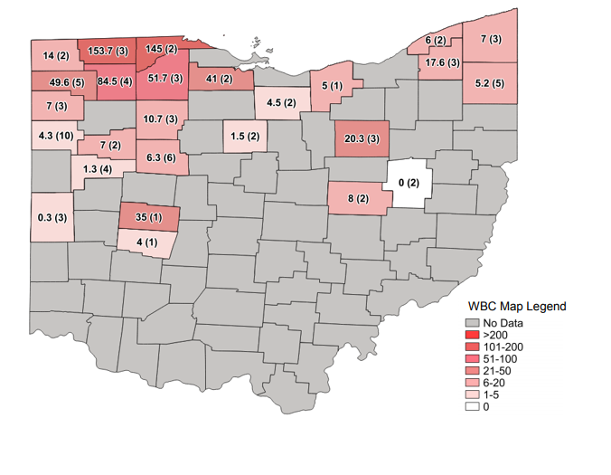 Figure 1. Average Western bean cutworm adult per trap followed by total number of traps in the county in parentheses for week ending July 21, 2019