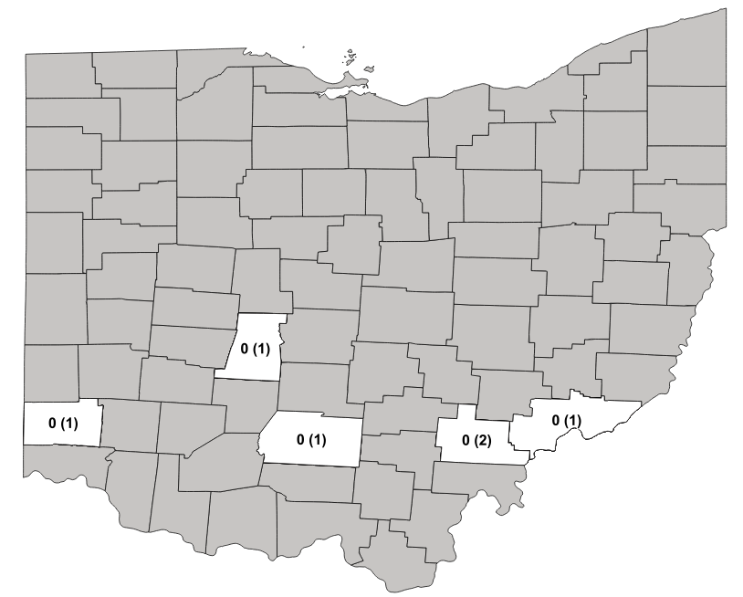 Average number of kudzu bug followed by the total number of traps located in each county in parentheses for the kudzu bug monitoring program in 2019