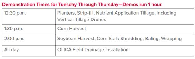 Field Demo Schedule
