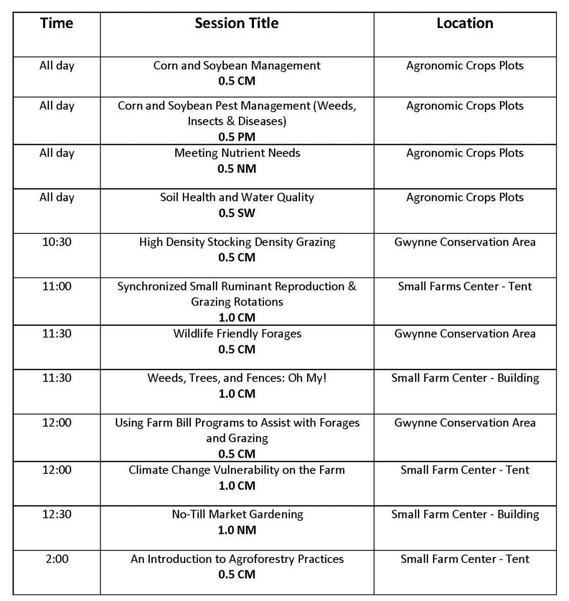CCA Schedule - Thursday