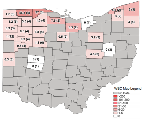 Figure 1. Average Western bean cutworm adult per trap followed by total number of traps in the county in parentheses for week ending July 19, 2020.