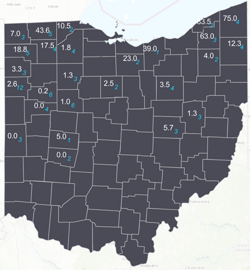 Figure 1. Average Western bean cutworm adult per trap (in white) followed by total number of traps monitored in each county (in blue) for week ending July 25, 2021. Map developed by Suranga Basnagala, Ohio State University, using ArcGIS Pro.