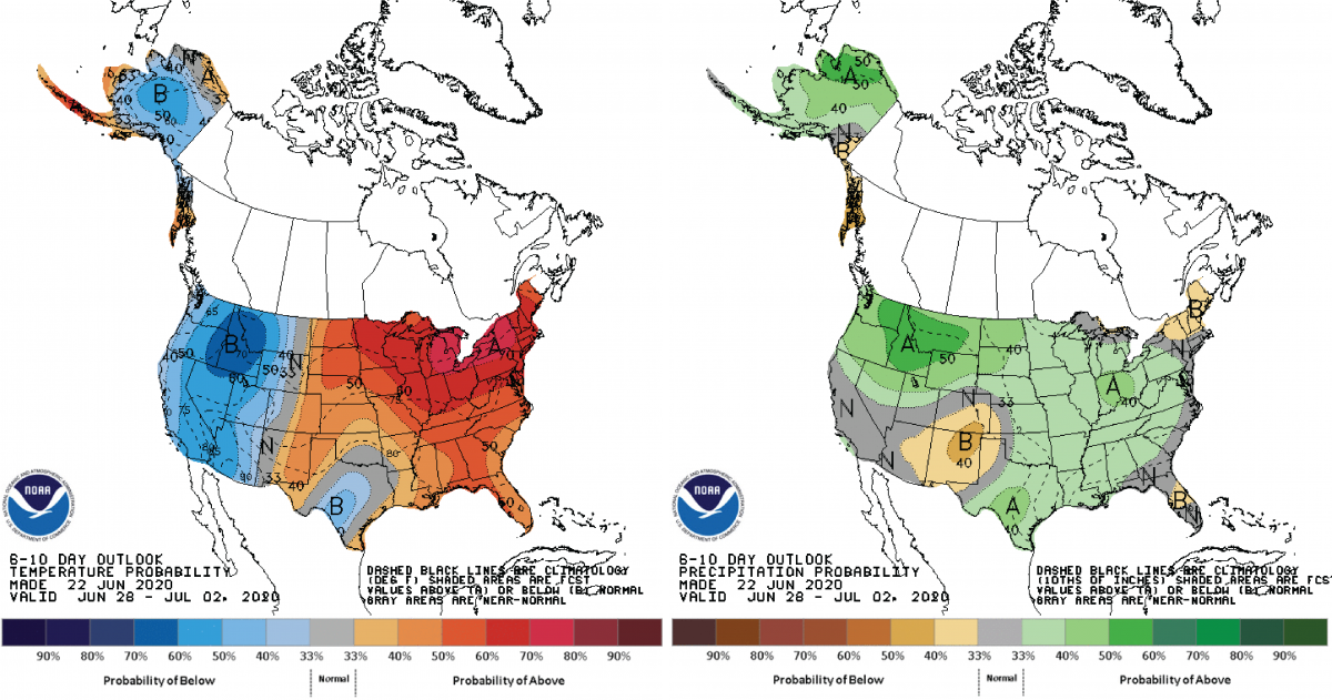 Figure 3: Climate Prediction Center 6-10 Day Outlook valid for June 28 – July 2, 2020 for left) temperatures and right) precipitation. Colors represent the probability of below, normal, or above normal conditions.