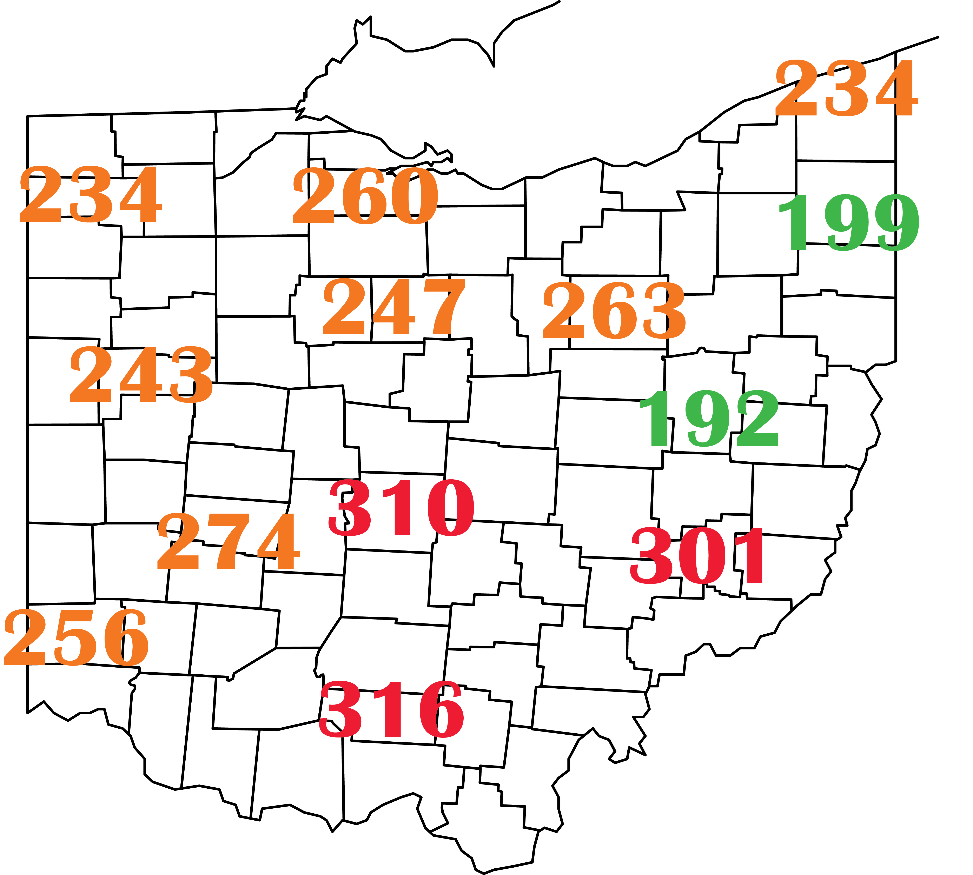Accumulated growing degree days (base 48°F sine calculation method) for January 1-April 15, 2021 at several CFAES Ag Weather System (https://www.oardc.ohio-state.edu/weather1/) locations and additional NOAA stations around Ohio.