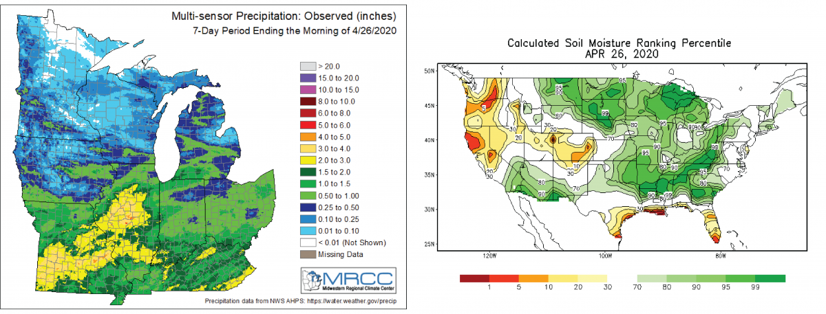 Figure 2: (Left) Precipitation estimates for the last 7 days ending on 4/20/2020. Figure provided by the Midwest Regional Climate Center (https://www.mrcc.illinois.edu). (Right) Calculated soil moisture ranking percentile for April 19, 2020 provided by NOAA's Climate Prediction Center (https://www.cpc.noa.gov/).