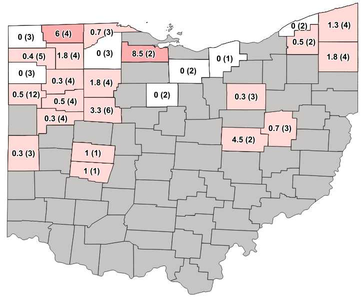 Figure 1. Average Western bean cutworm adult per trap followed by total number of traps in the county in parentheses for week ending July 12, 2020.