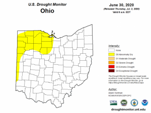 Figure 1: U.S. Drought Monitor for Ohio as reported on July 2, 2020.