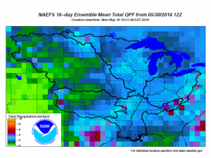 16-day total precipitation May 30, 2016