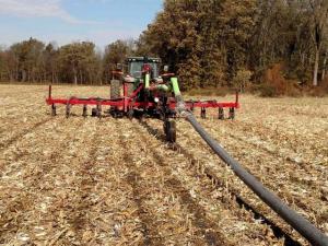 Dragline in corn stubble
