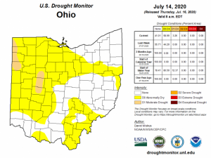 Figure 1: U.S. Drought Monitor for Ohio as reported on Thursday July 16, 2020.