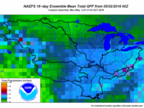 16 day total precipitation from May 2