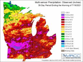 Figure 1. Multi-sensor precipitation estimates for the last 30-days