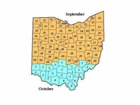 Hessian Fly Safe Dates for Ohio counties