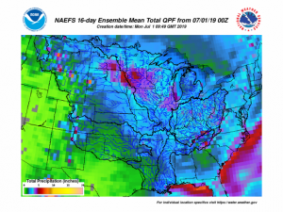 Above normal temperatures and precipitation will rule July