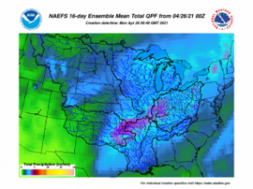 NAEFS 16-day Ensemble Mean Total QPF from 4/26/2021