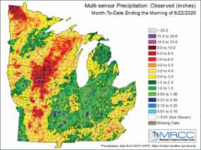 Figure 1: Multi-sensor observed month-to-date precipitation ending on June 22, 2020. Figure from the Midwestern Regional Climate Center (https://mrcc.illinois.edu).